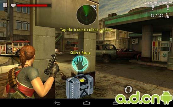 但凡操作有难度的游戏一般都配有详细的操作教程,《职业杀手:僵尸之城 2 Contract Killer Zombies 2》也不例外。开场动画后即刻进入第一个任务同时也是教学关卡。由系统逐步提示操作方法:拖动屏幕右边可转换视角,当准星正对僵尸时激发自动射击,屏幕左边隐藏的虚拟摇杆控制人物移动。游戏中提供多种武器,通过屏幕下方的转换键切换。近战武器的使用和远程相似,当视角拖动到正对僵尸时激发自动打怪。